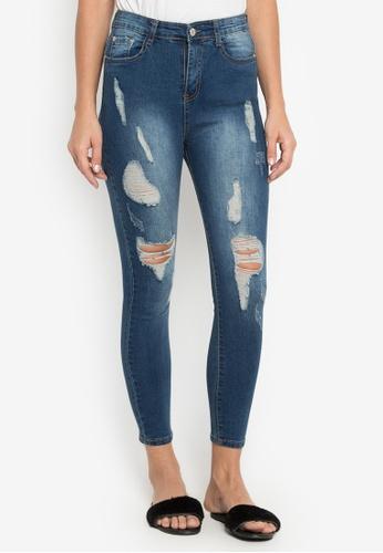 Balaynor blue High Waist Ditressed Jeans 92CCEAA39C7F21GS_1