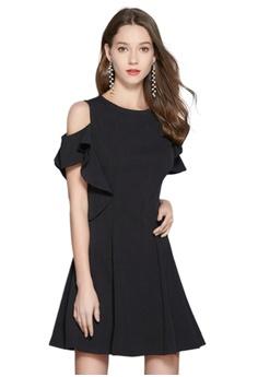 0c6f661f17b0 Sunnydaysweety black Temperament New Off-the-shoulder Ruffled One Piece  Dress CA052106 ED035AAD360F47GS_1