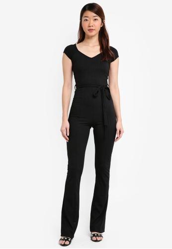 Miss Selfridge black Sweetheart Neck Flare Jumpsuit 6CA61AAB764AECGS_1