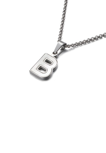 Glamorousky white Fashion and Elegant English Alphabet B Shell 316L Stainless Steel Pendant with Necklace 7EB4FAC046B553GS_1