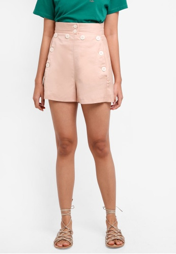 TOPSHOP pink Button Shorts EED5DAA3181A7EGS_1