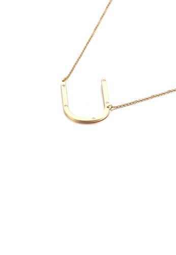 Glamorousky white Simple Personality Plated Gold English Alphabet U 316L Stainless Steel Pendant with Cubic Zirconia and Necklace 1F88AAC33DC775GS_1