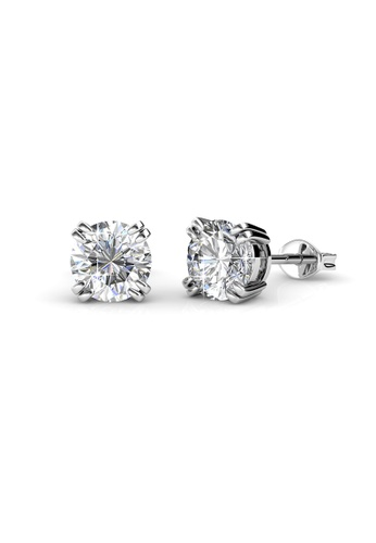 Her Jewellery silver Lowe Solitaire Earrings (White Gold) - Licensed Genuine Crystals from Swarovski® HE581AC0RDH3MY_1