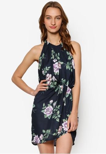 花卉繞脖無袖裹式連身裙, 服飾, 洋esprit tw裝