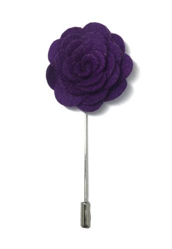 Splice Cufflinks purple Purple Classic Camellia Fabric Flower Lapel Pin SP744AC54UCRSG_1
