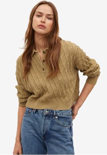Mango beige Braided Knit Polo Shirt 8E9D1AA89D2199GS_1