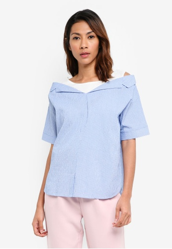 United Colors of Benetton blue Double Layer Shirt 5FF58AAA5BF905GS_1