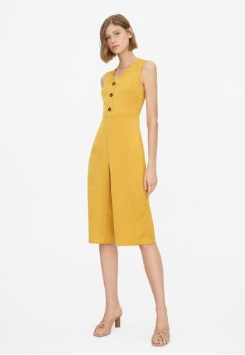 Pomelo yellow Triple Button Sleeveless Jumpsuit - Mustard 1009FAA9AB0030GS_1