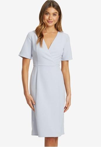 REUX grey Ivanka Overlap Midi Dress E27DFAA11B25E7GS_1