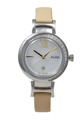 Alba n/a ALBA Jam Tangan Wanita - Ivory Silver - Leather Strap - AH7R85 5155AAC6CAF021GS_1