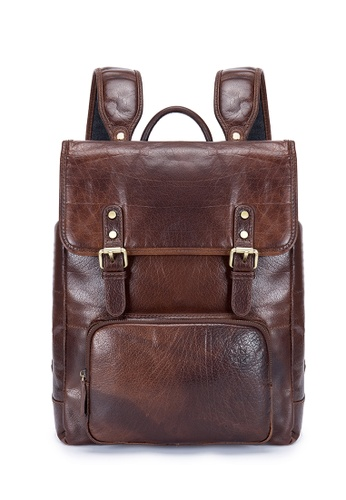 ENZODESIGN brown Antique Two Tone Buffalo Leather Backpack 125FFAC1AD744BGS_1