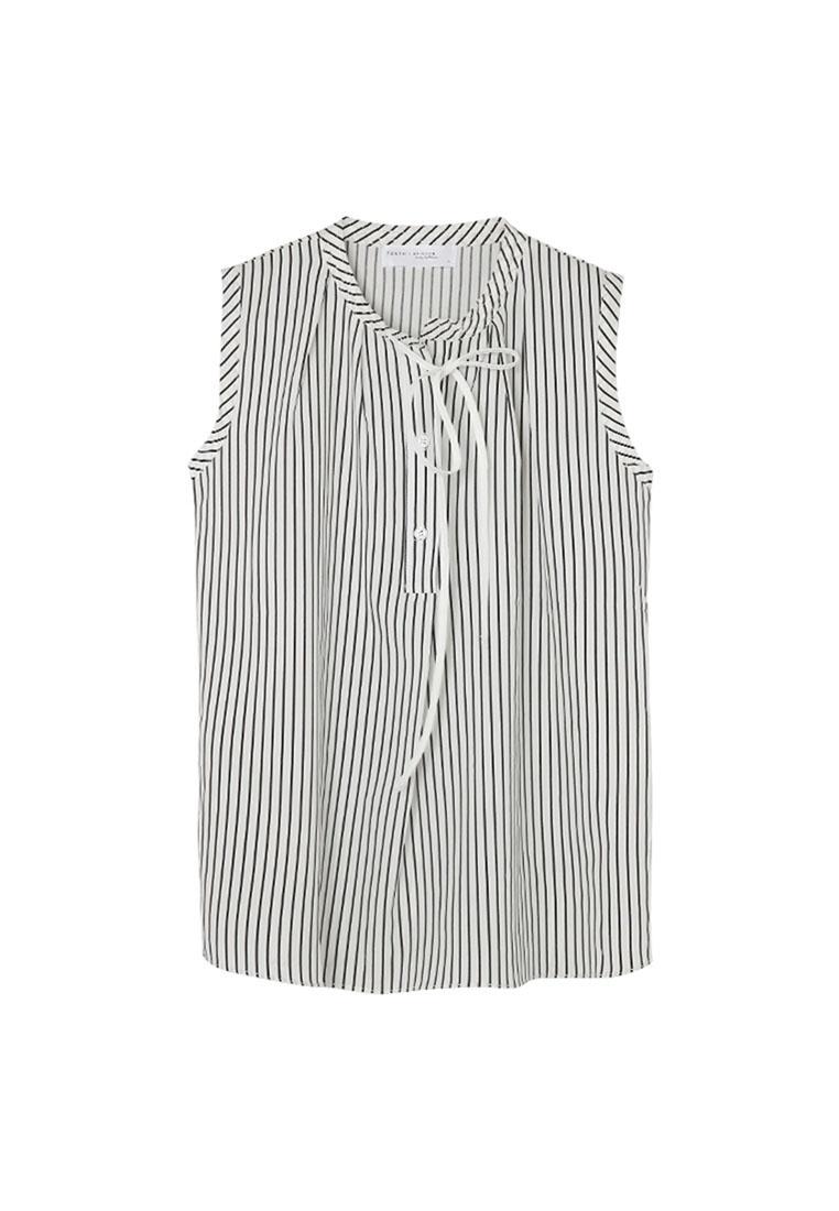 Black Tokichoi Top Front Stripe Tie Sleeveless SwqwzU6X