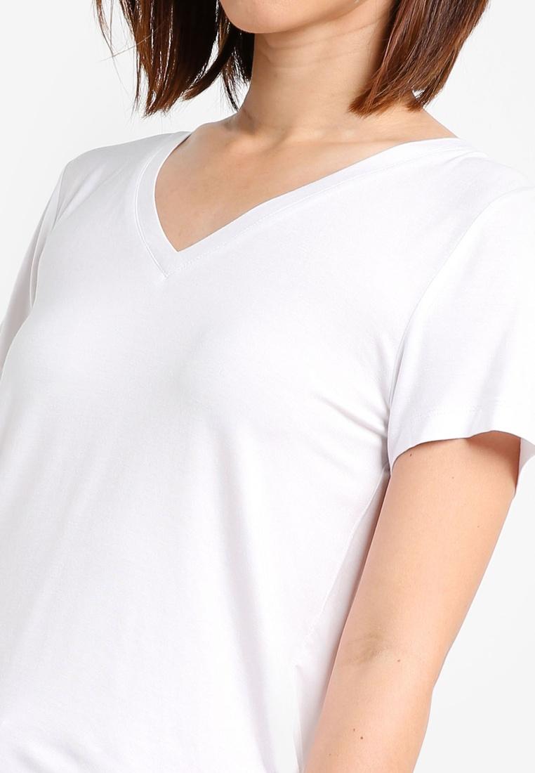 white khaki basics v zalora neck 2 pack essential tee ho64wqwv. Black Bedroom Furniture Sets. Home Design Ideas