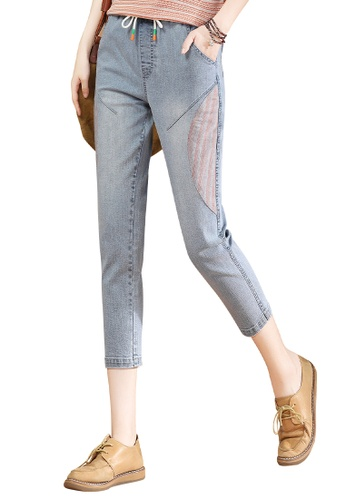 A-IN GIRLS blue Elastic Waist Panelled Jeans 1AA94AAC4A8C20GS_1