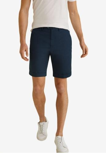 Mango Man 藍色 Technical 棉 百慕達短褲 F4ED4AA04B4433GS_1