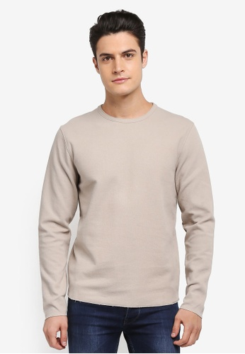Selected Homme grey Russel Crew Neck Sweatshirt 32A94AAE5AFB0FGS_1