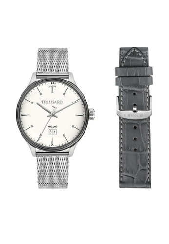 Trussardi black T-Complicity Quartz Watch R2453130003 Black and Silver Stainless Steel Strap 04D6AACBA9B62FGS_1