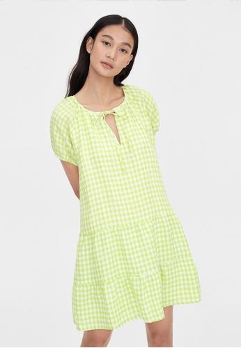 Pomelo green Purpose Gingham Tier Shift Dress - Green 3A728AA5491CC8GS_1