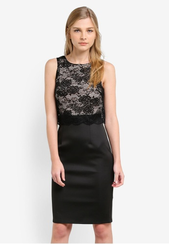 Wallis black Black Swirl Lace Printed Floral Dress WA800AA0S2BTMY_1