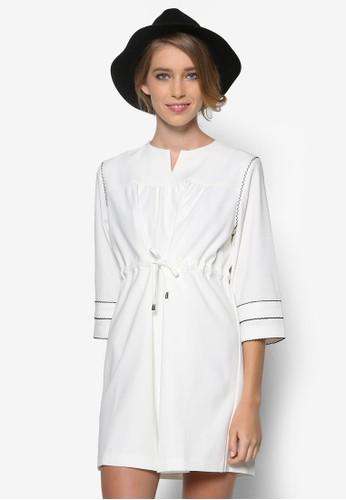 抽繩zalora是哪裡的牌子繫帶七分袖連身裙, 服飾, 洋裝