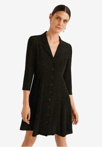 Mango 黑色 印花襯衫洋裝 ED674AA74D5616GS_1