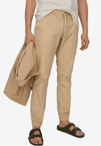 MANGO Man beige Tencel Cotton Joggers B0302AA9B616ACGS_1