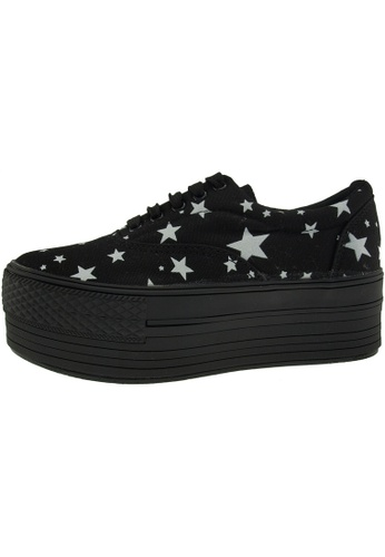 Maxstar 黑色 新款韩国鞋C50-5H-Star時尚帆布布混合女黑色 US Women Size MA345SH14GSRTW_1