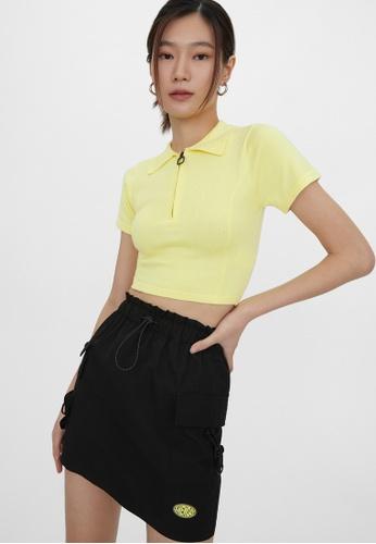 Pomelo yellow Front Zip Crop Top - Yellow 66B20AA0881156GS_1