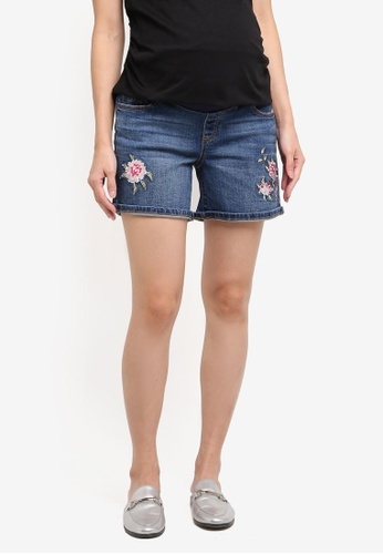 Dorothy Perkins blue Maternity Midwash Embroidered Shorts 2375CAAC1224E8GS_1