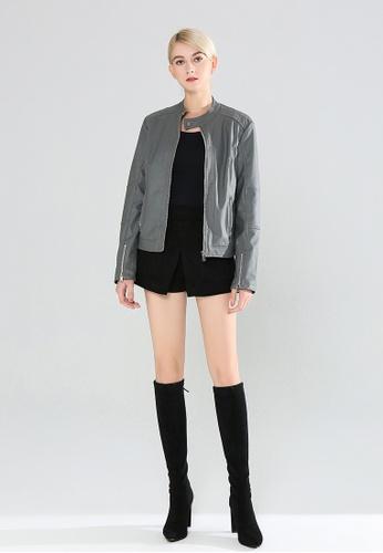 London Rag grey Zipper Faux Leather Biker Jacket C5CE1AA865E365GS_1