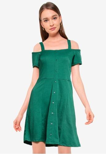LC Waikiki green Off The Shoulder Mini Dress 8FE49AA2C47DD7GS_1