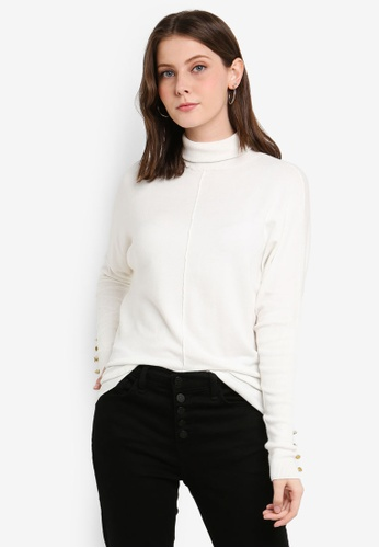 River Island white Batwing Sleeve Roll Neck Top B0D77AAABC4FAAGS_1