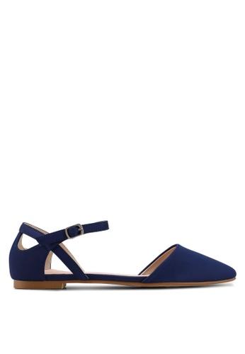 Velvet navy Ankle Strap Flats BA1CESH60D86D1GS_1