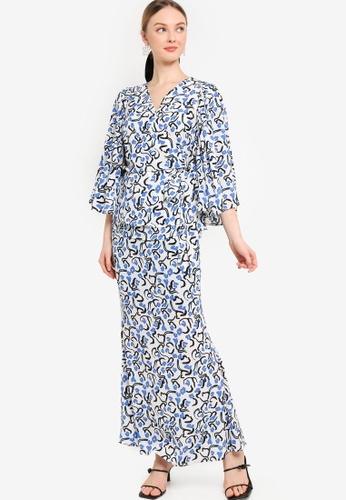 Lubna white and blue Full Sleeve With Bow Belt Kurung 50AEAAAB66EE1EGS_1