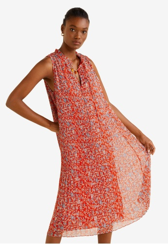 Mango 紅色 Printed Pleated Dress 26E40AA6C19BA7GS_1