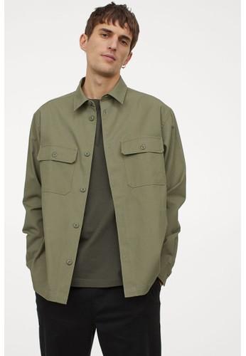H&M green Relaxed Fit Shirt jacket 2E89DAA821DE8CGS_1