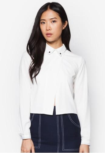 撞色鈕扣長袖襯esprit地址衫, 服飾, 簡約優雅風格