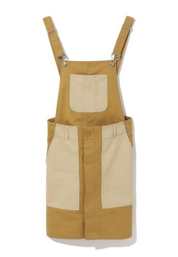Mini cream beige Colour block overall skirt 91D7AAA0A0FF2BGS_1