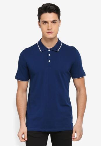 MANGO Man blue Contrast Trim Cotton Polo Shirt 9E337AAE51E5A0GS_1