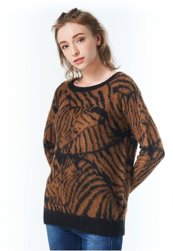Sisley brown Jacquard Sweater 47DE1AA1DB87A7GS_1