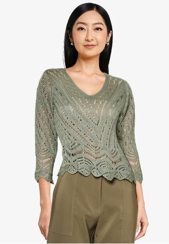 JACQUELINE DE YONG green Sun 3/4 Cropped Knit Pullover B52B2AA781A024GS_1