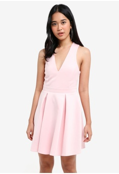 36b49dca2d83 Miss Selfridge pink Pink Scuba Fit And Flare Dress E0646AA4C32397GS_1