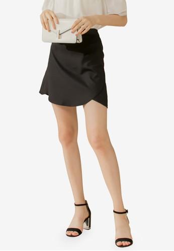 Eyescream black Curved Hem Mini Skirt 639CEAA652B17EGS_1