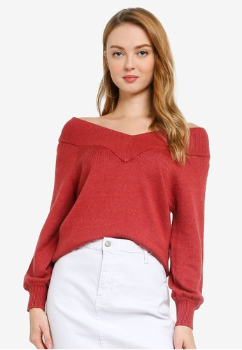 JACQUELINE DE YONG brown Shannon Long Sleeve Off Shoulder Pullover 6558AAA6C5F5DBGS_1