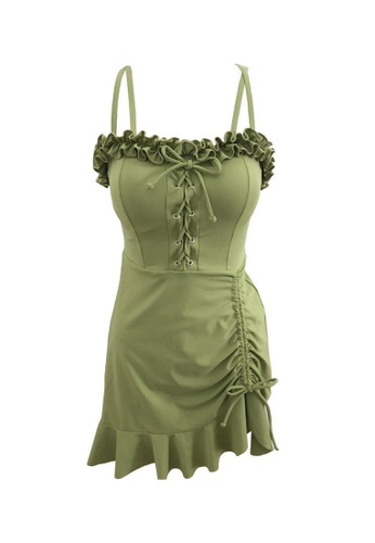 ZITIQUE green Women's Ribbon Ruffled One-piece Swimsuit - Green 98491US4580EB4GS_1