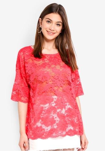 JACQUELINE DE YONG pink Juan Lace Top 61A59AA78883ABGS_1