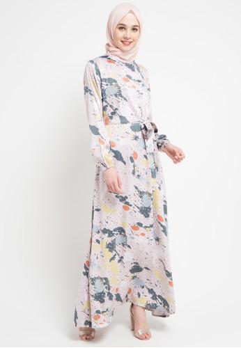 Jual Zumara Bowknot Printed Gamis Dress Original Zalora