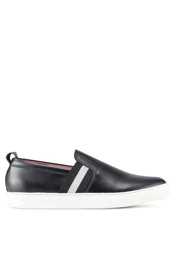 Acuto black Leather Slip On Sneakers AC283SH0SL6BMY_1