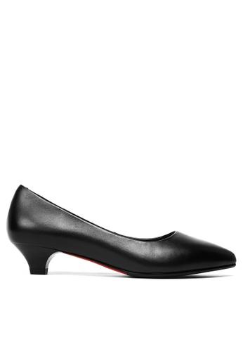 Twenty Eight Shoes 黑色 真皮製服工作高踭鞋 80A0BSHDE3A8AAGS_1