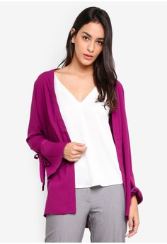 Magenta Long Sleeve Cover Up